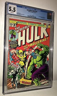 Marvel Comics Hulk 181 Cgc 5.5 White Pages 1974 First Appearance Wolverine Hot