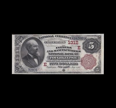 1882 $5 National Brown Back Poughkeepsie, N.y. Strong Extra Fine