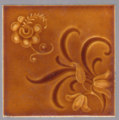 Henry Richards - c1900 - Brown Floral - Art Nouveau - Antique Majolica Tile