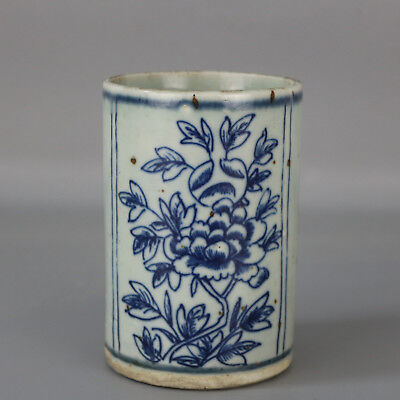 China old hand-carved Blue & white porcelain flower pattern brush pot c02