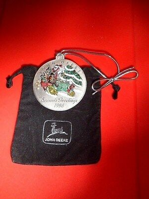 John Deere Pewter Christmas Ornament 1998 Model G Tractor No 3 in Series Pouch