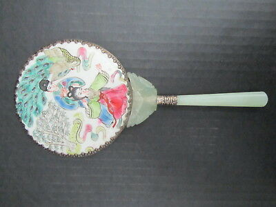 Chinese Antique Hand Mirror with Jade Handle and Silver Rim Inlaid with Porcelai