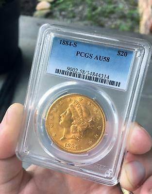 1884-S $20 Liberty Gold Double Eagle Coin AU-58 PCGS NGC