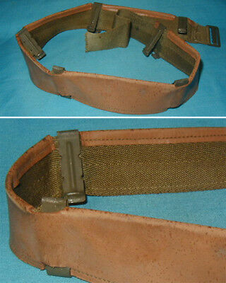 Original WWII U.S. Army M1 Helmet Liner Leather Sweatband w/ OD Clips