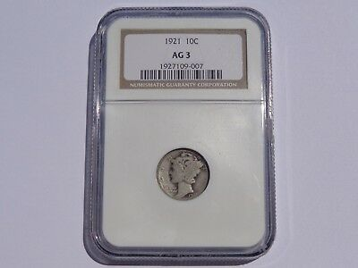 1921 Mercury Dime Ngc Ag-3 Key Date! No Reserve! Must See!