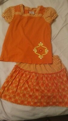 Hanna Andersson 130 (Sz 8/9) Outfit Top and Skirt with built in shorts. EUC!!