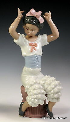 "Lladro ""rhumba"" 5160 Black Legacy - African American Girl In Dance Attire *mint"