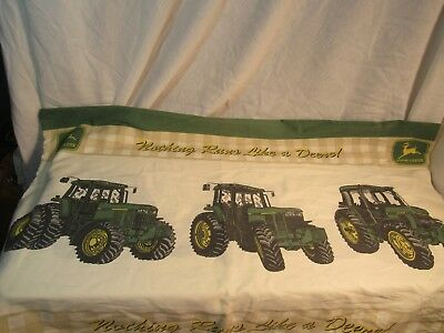 Vintage John Deere Tractor Pillow Case Nothing Runs Like A Deere Advertising Old
