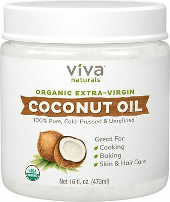 Viva Labs Organic Extra Virgin Coconut Oil Unrefined Cold Pressed 16 oz