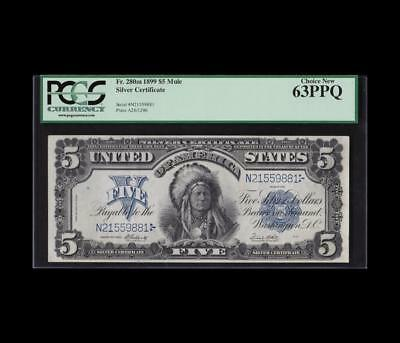 1899 $5 Silver Certificate Mule Chief Gorgeous Pcgs Choice New 63Ppq
