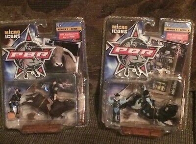PBR micro icons Little Yellow Jacket and  Justin McBride new boxed. Pair priced
