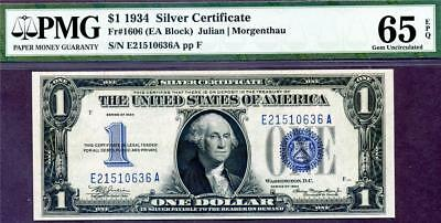 HGR SUNDAY 1934 $1 Silver Certificate ((FUNNY BACK)) PMG GEM UNC 65PPQ