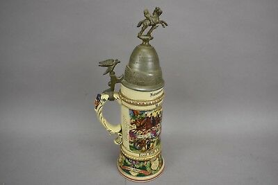 Vintage German French Reservist Stein 1909-1912 Porcelain Pewter Lid