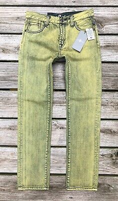 "NWT 7 For All Mankind Boys 12 ""Slimmy"" Slim Straight Leg Yellow Acid Wash Jeans"