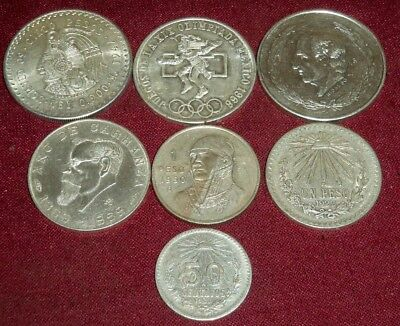 LOT of 7 LARGE VINTAGE MEXICO .300, .720 & .900 SILVER COINS, 1920 - 1968