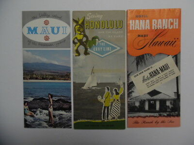 c.1950s Hawaii Travel Brochure Pictorial Map Lot Hana Hotel Maui More Vintage