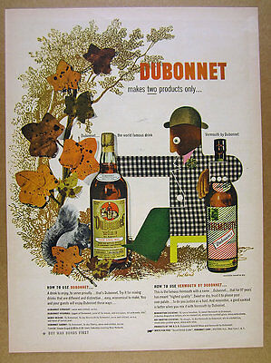 1943 Paul Rand autumn leaves man design art Dubonnet Aperitif vintage print Ad