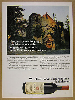 1975 Paul Masson winery photo California Zinfandel Wine vintage print Ad
