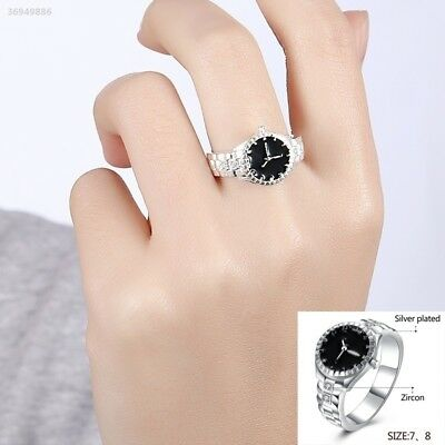 Creative Women Silver Finger Ring Watch Alloy Personality Jewelry Gift 4A89