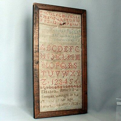 Antique Framed IRISH SAMPLER 1828 NEWTOWNBARRY IRELAND Elizabeth Butler 1800's