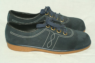 Buster Brown navy blue suede sneakers youth 3 C narrow Made in USA NOS