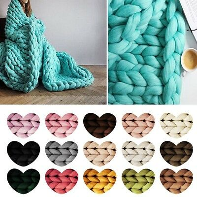 130*180cm 20Balls Large Warm Chunky Knit Blanket Thick Yarn Wool Bulky Knitted