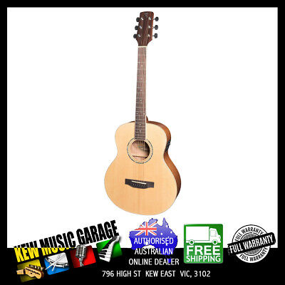 Timberidge 1 Series Left Hand Solid Top Ts-Mini Acoustic-Electo Guitar Nat Satin