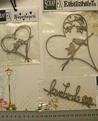 CHIPBOARD Die Cut HEARTS with LOVE BIRDS & Word - 3 Style Choice Scrap FX L