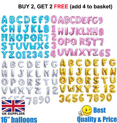 "Gold, Silver, Pink & Blue 16"" Alphabet Letter Number Foil Balloons *PARTY *NAME#"