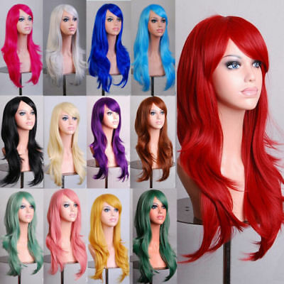 Girl 70cm Cosplay Costume Long Full Hair Wavy Natura Curly Wig Fancy Dress Party