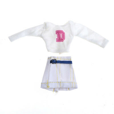 2Pcs Handmade Doll White Skirt Suit for Barbie 1/6 Doll Party Daily Clothes   Z