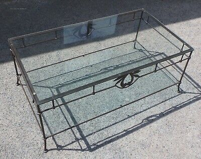 Art Nouveau antique style French wrought iron glass coffee side occasional table