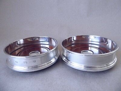 Superb Pair Sterling Silver Engine Turned Bottle/ Wine Coasters 2004