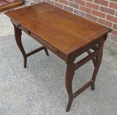 Edwardian antique Arts & Crafts solid oak 1 drawer compact writing desk table