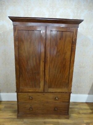 Victorian Mahogany Linen Press, adapted to be a wardrobe with Hanging Rail