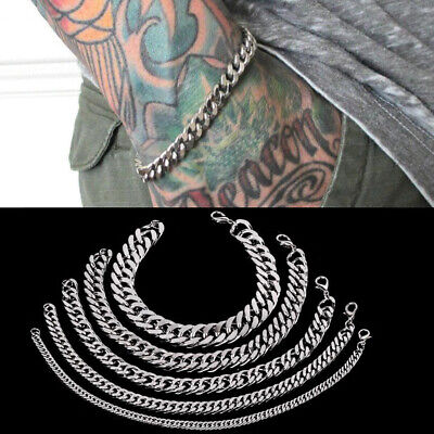 3-12mm Men Chain Curb Cuban Link Silver Tone Stainless Steel Bracelet Bangle 5''