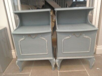 Annie Sloan painted distressed Shabby Chic pair of bedside tables - grey