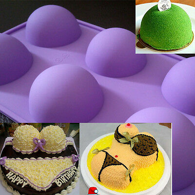 Cake Mold Soap Mold 6-Big Half Ball Round Flexible Silicone Mould For Candy