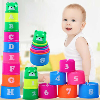 Stacking Cups Sets Baby Early Education Leaen Toys Lovely Building Kits D2A3