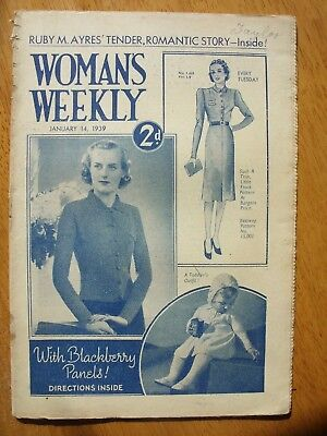 Vintage Womans Weekly Every Tuesday January 14th 1939 Price 2d