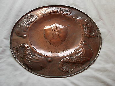 Large Newlyn Style copper plaque, charger Bodmin shield. Hayle copper