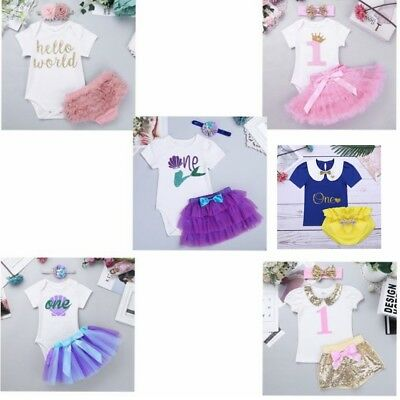 Newborn Baby Girl 1st Romper CakeSmash Tutu Dress Bodysuit Headband Party Outfit