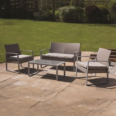 4 Piece Grey Garden Patio Rattan Chair/sofa Outdoor Furniture Conservatory