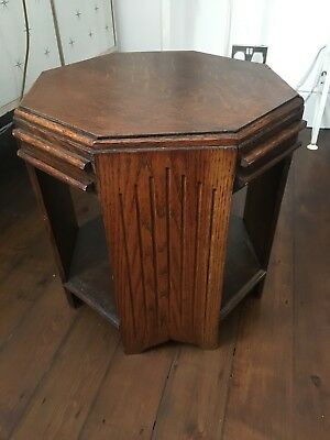 30s deco octagonal side table, with pull out drink stands
