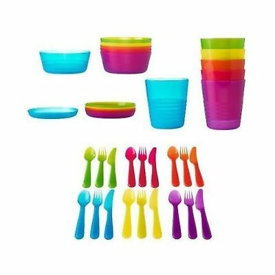 Ikea 36 Pcs Kalas Kids Plastic BPA Free Flatware Bowl Plate Tumbler Set Colorful