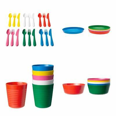 IKEA KALAS Kids' Plastic Party Tableware Bowls, Cups, Plates, Cutlery 36 pc set