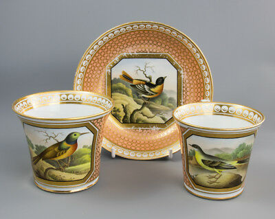 Chamberlain Worcester Trio Two Cups and a Saucer c1800-10