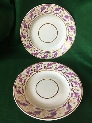 c.1806-1825 ANTIQUE GEORGIAN PAIR of PLATES DERBY PUCE & GOLD 8 inches (20cm)