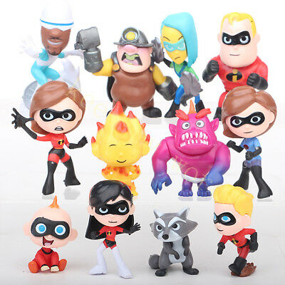 Disney Cartoon Movie Lovely The Incredibles 12 Pcs PVC Cake Topper New Toy Gift
