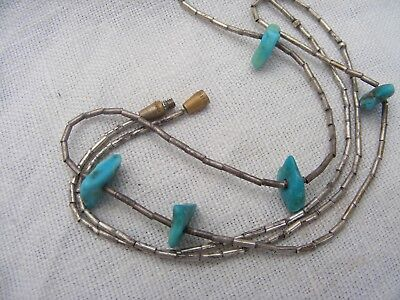 Native american natural turquoise chip necklace.